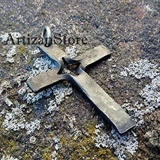 Hand Forged Cross Pendant Cross Necklace Religious Pendant Crucifix Pendant Cross Charm