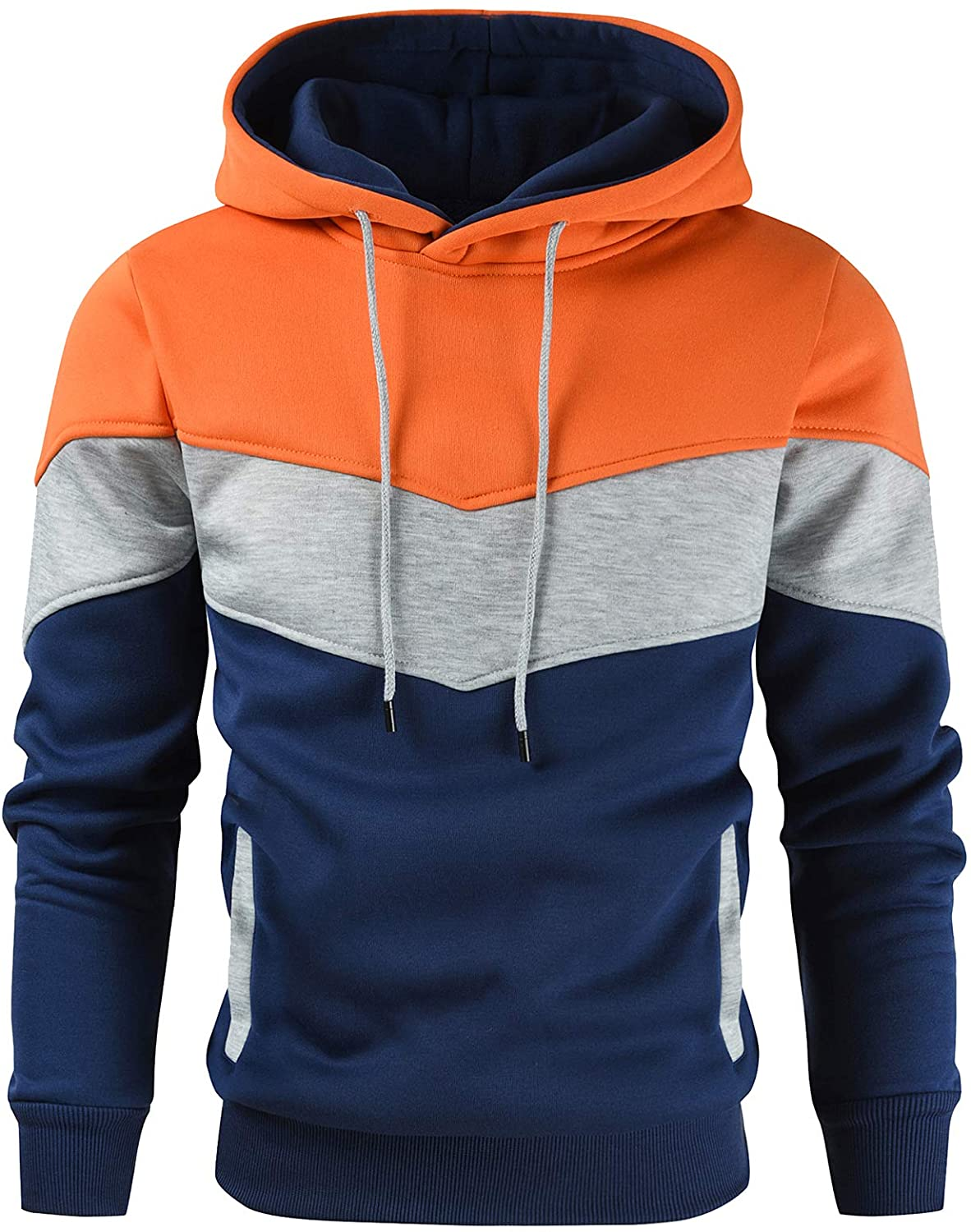 Gesean Men's Novelty Color Block Pullover Fleece Hoodie Popular products Outlet ☆ Free Shipping Sle Long