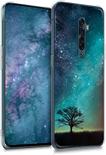 kwmobile Case Compatible with Oppo Reno 2 - Crystal TPU Cover with UV Print and Transparent Edge - Cosmic Nature Blue/Grey...