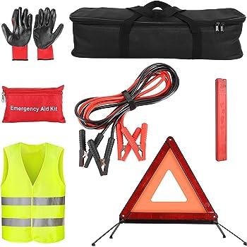 Erste Hilfe Set und Warndreieck MYSBIKER 3in1 KFZ Verbandskasten Kombitasche Sicherheitsgurtschneider und Fensterhammer Trio mit Warnweste
