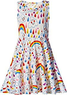 uideazone Girls Rainbow Smile Sleeveless Dress Summer Maxi Dress 4T - 5T