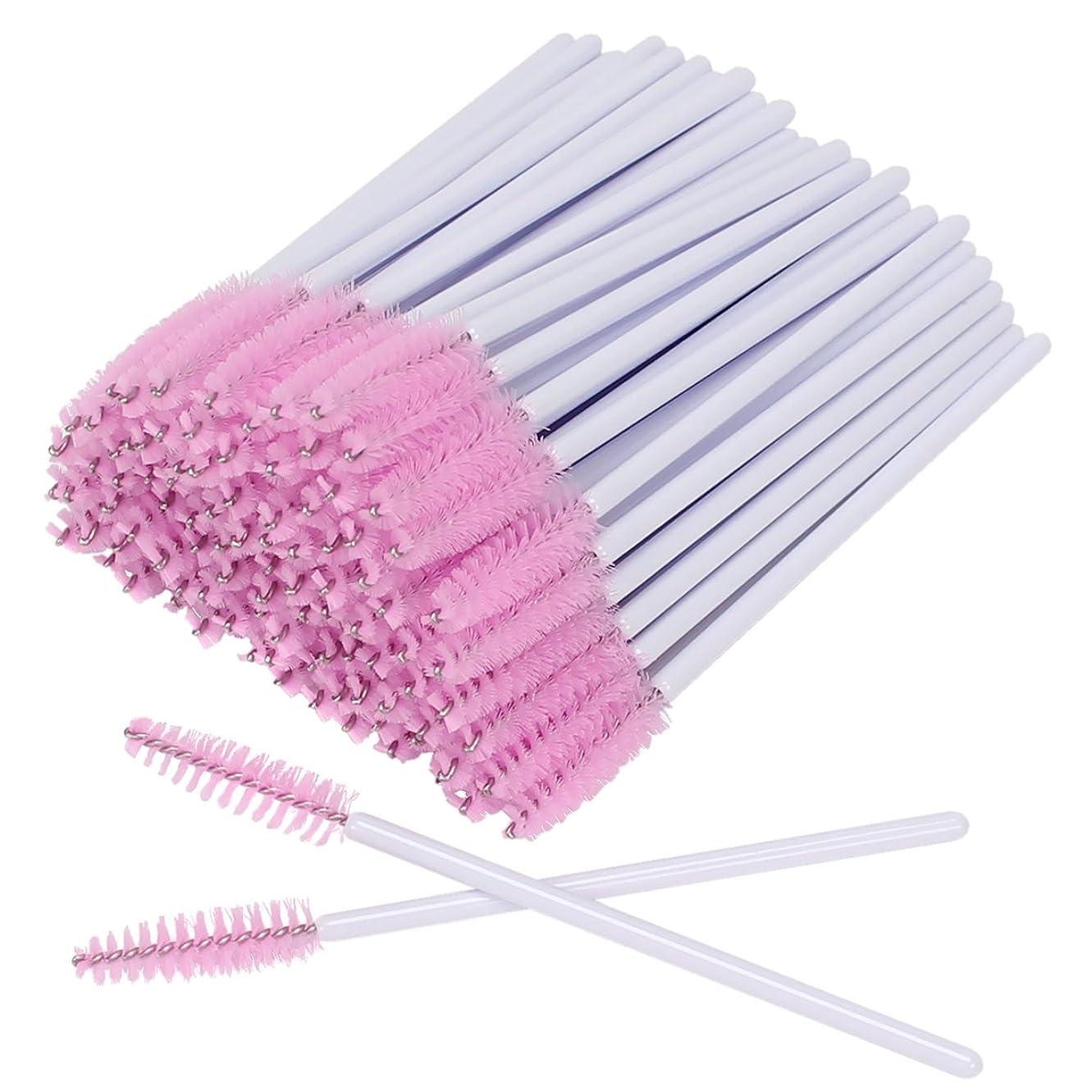 ヨーロッパ盲目代表団Akstore 100ピース使い捨てまつげはマスカラワンドアイラッシュ眉ケータ化粧化粧ブラシツールキットブラシ ホワイト、ピンク
