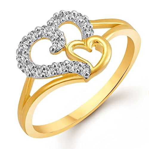 MEENAZ Royal Lovely Heart Gold & Rhodium Plated CZ Ring FR401