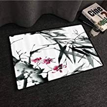 Traditional House Decor Thin Door mat Natural Sacred Bamboo Stems with Cherry Blossom Folk Art Print Super Absorbent mud W20 xL31 Dark Green Fuchsia