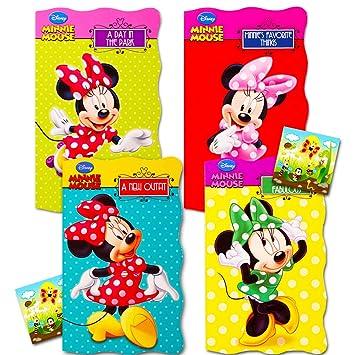 Amazon Com Disney Minnie Mouse My First Books Para Niños Pequeños Bebé Juego De 4 Libros De Tablero Con Forma De Disney Baby