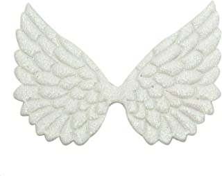 Monrocco 10pcs Glitter Fabric Angel Wings Embossed Angel Wing Patches for DIY Crafts Hair Accessories