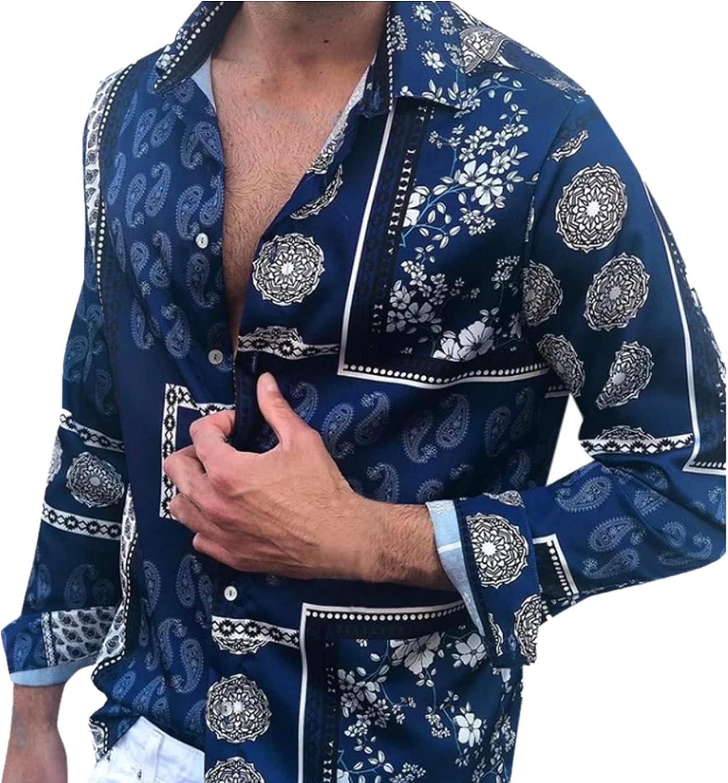 Huangse Men's Long Sleeve Hawaiian Shirt Vintage Boho Printed Slim Fit Button Down Lapel Shirt Beach Tops