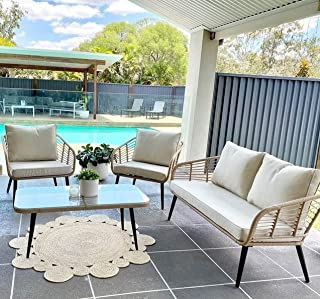 4pc Outdoor Sofa Set Furniture Garden Wicker Rattan Lounge Setting Cushioned, Light Beige