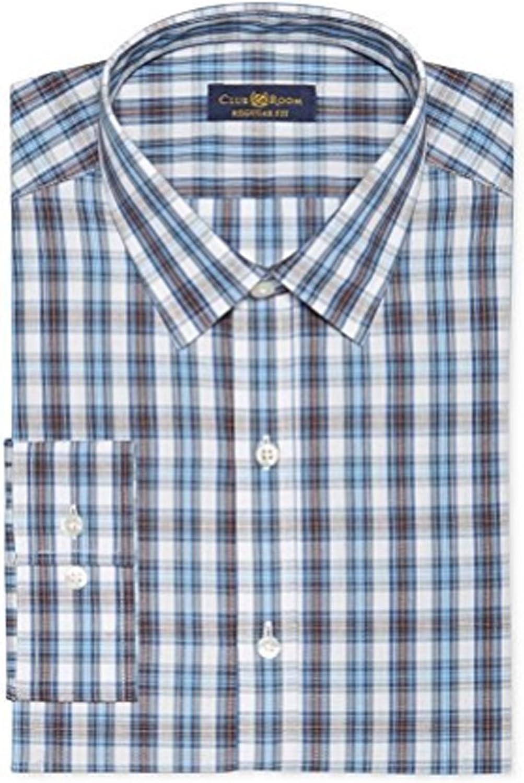 Club Room Estate Mens Wrinkle Resistant Checkered Dress Shirt, Persian Blue, 17 32/33