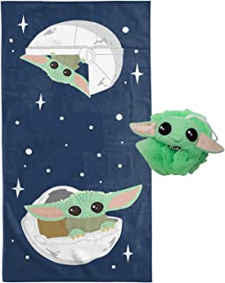 Jay Franco Star Wars The Mandalorian The Child 2 Piece Bath Towel & Loofah Set - Featuring Baby Yoda - Super Soft & Absorbent Fade Resistant Cotton Towel (Official Star Wars Product)