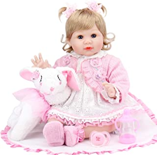 Aori Lifelike Reborn Baby Doll 22 Inch Real Looking Weighted Reborn Girl Doll with Bunny Toy Best Birthday Set for Girls A...