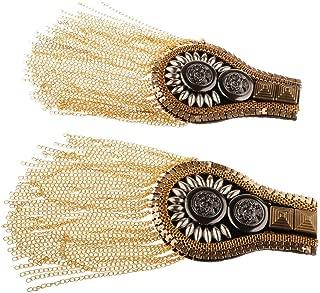 2pcs Unisex Tassel Chain Epaulet Punk Rivet Chain Tassel Shoulder Boards Badge Costume Uniform Ceremony Accessories for Men Women Uniform Epaulettes Accessories - Gold
