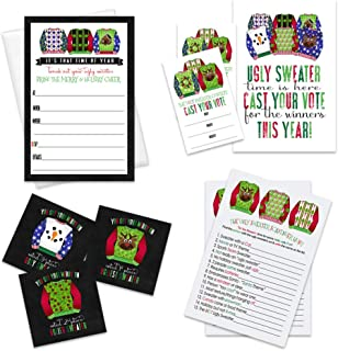 Ugly Sweater Christmas Party Invitations and Games Bundle (104 pc.) Includes Blank Invites, Find The Guest, Ballot Cards, Voting Sign, Prize Winner Stickers