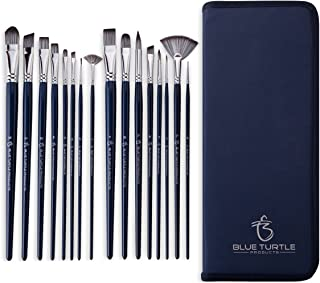 Blue Turtle Products 16 Piece Artist Paint Brush Set for Acrylic, Oil, Watercolor, Gouache and Face Painting. Professional Brushes with Synthetic Nylon Non-Shed Bristles, Long Handles and Pop-Up Case.