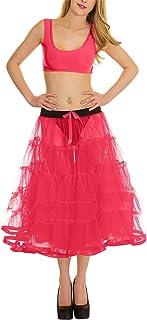 Rimi Hanger Ladies 5 Tier Petticoat with Ribbon Tutu Skirt Womens Party Wear Fancy Skirt One Size
