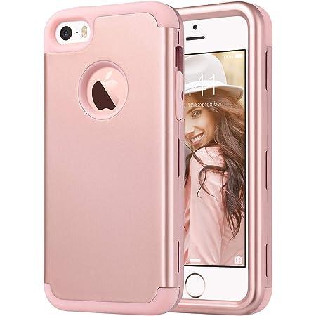 ULAK Coque iPhone Se, iPhone 5C Coque 3en1 Hybride Antichoc en Silicone Housse Étui Protection Coque pour iPhone Se/iPhone 5S / iPhone 5 / iPhone 5C, ...