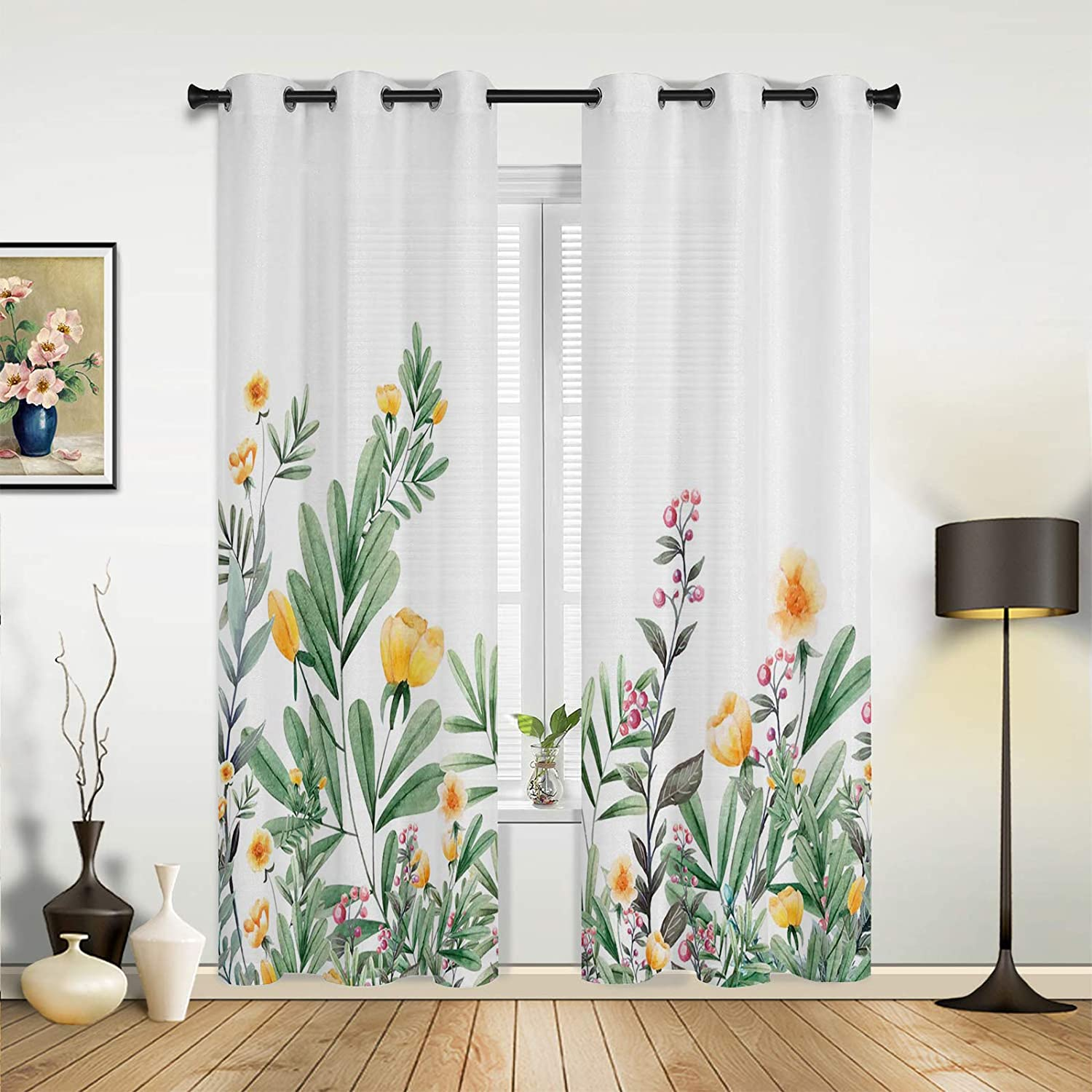 Window Curtains Drapes Panels Spring Vital Yellow Max 42% OFF Green Plants Wholesale S