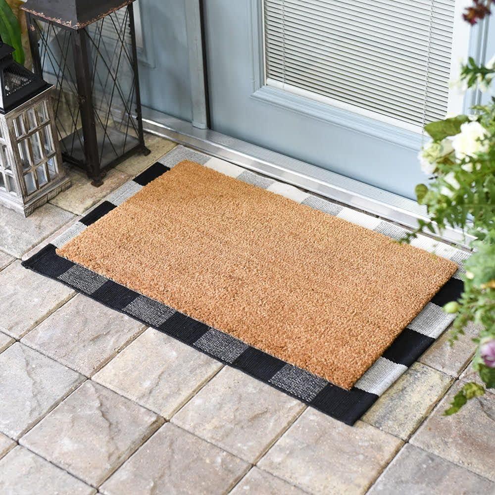 Max 80% OFF Monogram Border Wreath Personalized Doormat Mat Door Sacramento Mall Flocked O
