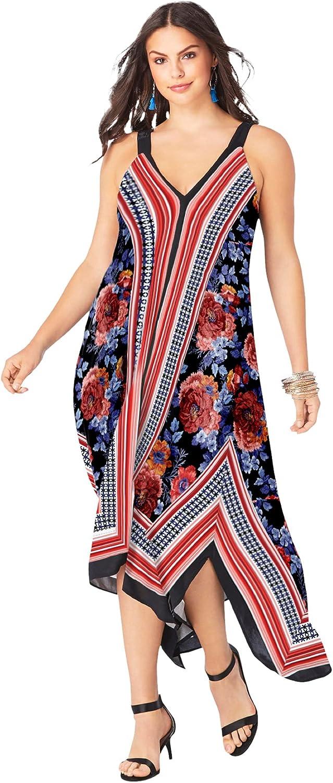 Roamans Women's Plus Size Scarf-Print Maxi Dress