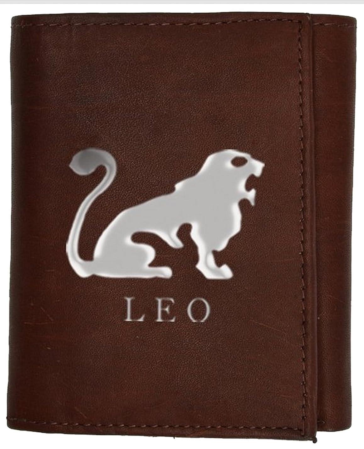 借りている悪性の支配的Leo Zodiac Sign ( 7月23日に8月22日本革三つ折り財布by Marshal