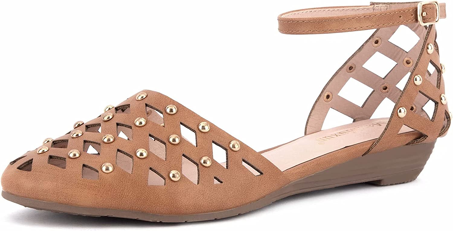 MaxMuxun Women's Ranking TOP12 Roman Ankle Strap Closed Flat Cage OFFicial mail order Sandals Toe
