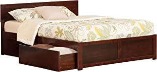 Atlantic Furniture Orlando Platform Bed with 2 Urban Bed Drawers, Queen, Walnut