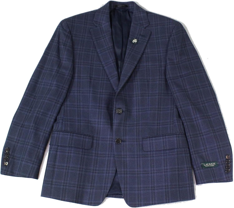 Lauren Ralph Lauren Mens Lexington Silk Blend Plaid Two-Button Blazer Navy 36S