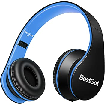 BestGot Kids Headphones for Kids Boys Adult with Microphone in-line Volume Foldable Headset with 3.5mm Plug Removable Cord (Wired Black/Blue)