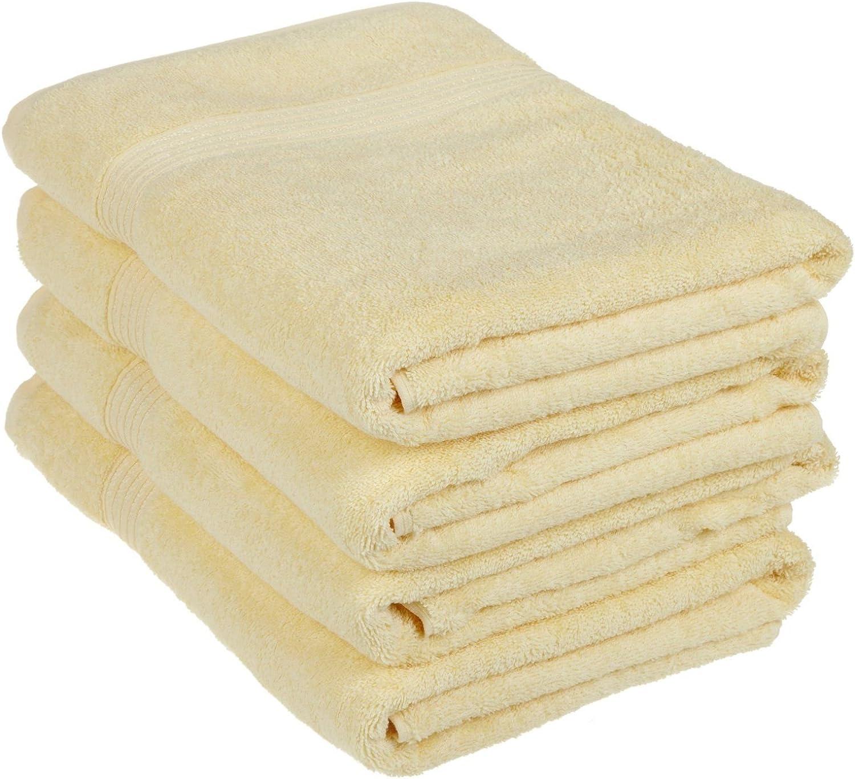 Superior 100% Long Staple Combed Cotton Bath Towel Set, 4 Piece, Canary