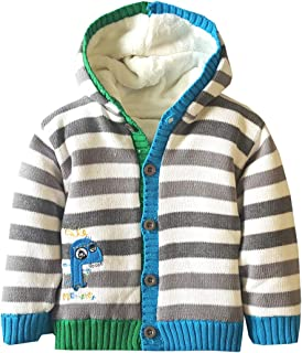 Dealone Baby Boys Long Sleeve Stripes Hoodies Cardigan Cotton Knitting Warm Sweater Outerwear