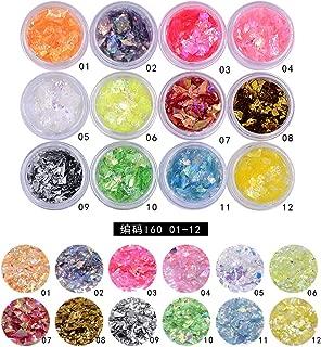 MEILINDS Nail Glitter Ice Mylar Sequin 3D Art Shell Broken Slice Foil Mirror Design Decoration 12 Colors