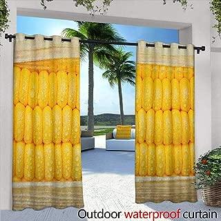 LOVEEO Health Grommet Outdoor Curtains Corn Cob Stem with Raindrops Water Marks Mexican Vegetable Photo Artwork Image Waterproof Patio Door Panel 108
