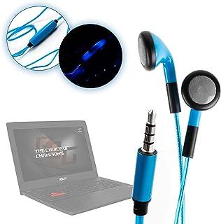 DURAGADGET Auriculares In-Ear con Luz LED Azul para Portátil ASUS R510VX-DM010D, R510VX-DM010T, R510VX-DM169D, R510VX-DM535T- ¡Las Luces Se Mueven Al Ritmo De La Música