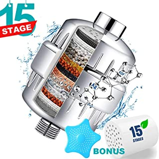 Shower Filter - Water Softener Shower Head Filter with 2 Replaceable Multi-Stage Filter Cartridges to Remove Chlorine, Heavy Metal