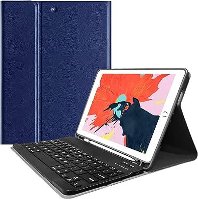 VAGHVEO Tastatur H lle f r iPad pro 9 7 2018 2017 iPad Air 2 1  Ultrad nn leicht Slim Shell St nder magnetisch drahtloser Keyboard Cover mit Funktion Pencil Halter und Auto Schlaf Wachen  Marineblau