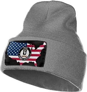 American Flag Map Army 101st Airborne Iraq Combat Veteran Men&Women Warm Winter Knit Plain Beanie Hat Skull Cap Acrylic Knit Cuff Hat