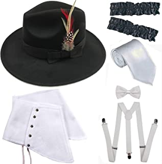 1920s Trilby Manhattan Fedora Hat, Gangster Spats/Armbands,Suspenders Y-Back Trouser Braces,Pre Tied Bow Tie,Tie