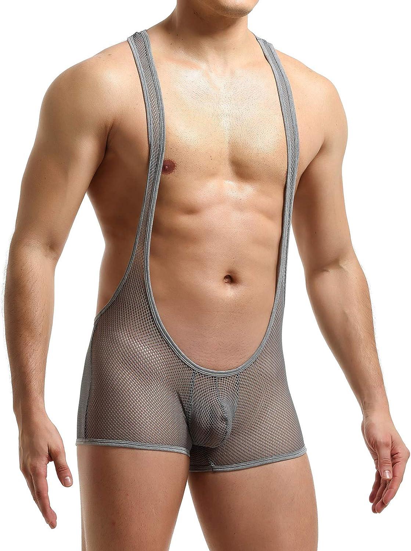 YUFEIDA Mens Athletic Supporters Stylish Bodysuit Slim Fit Jumpsuit Breathable Base Layers Boxer Back Open Leotard