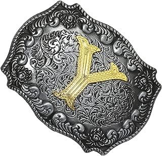 Dolity Golden Initial Letters A-Z Mens Cowboy Waist Belt Buckle Indian Metal Buckle