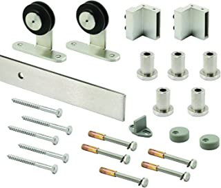Prime-Line N 7556 Heavy Duty Barn Door Track Kit, Smooth Rolling, Top Mount, Brushed Stainless Steel