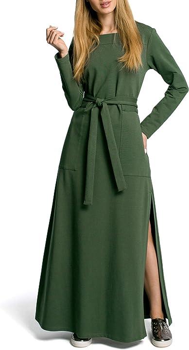 Abito con spacco laterale alto - verde militare moe - made of emotion maxi B089GGYW1F