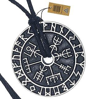 OhDeal4U Nordic Coin Amulet Vegvísir Guidepost Compass Sign Post wayfinder Odin Horn Triquetra Valknut Mjolnir Thor's Hammer Pewter Pendant Necklace Charm Amulet Medallion Talisman