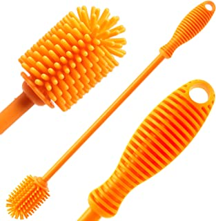 "Silicone Bottle Cleaning Brush with 12"" Long Handle - Flexible Ergonomic Design - Best Scratch-Free Cleaning Tool for Wate..."