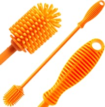 """Silicone Bottle Cleaning Brush with 12"""" Long Handle - Flexible Ergonomic Design - Best Scratch-Free Cleaning Tool for Water Bottles, Baby Bottles"""