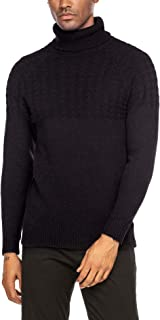 Men's Casual Turtleneck Sweater Warm Slim Fit Twisted Knitted Pullover Sweaters