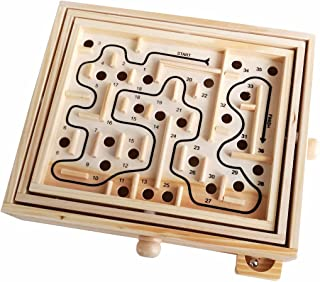 GARASANI Wood Labyrinth Game (36 Hole) with 2 Metal Balls