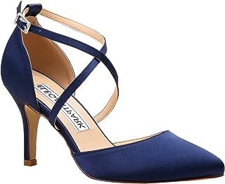 022c18ea Duosheng & Elegant HC1901 Women Pointed Toe High Heel Court Shoes Cross  Strap Satin Wedding Party
