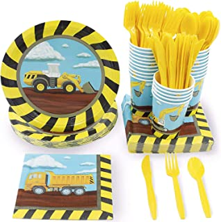 Juvale Kids Construction Birthday Party Supplies – Serves 24 – Includes Plates, Knives, Spoons, Forks, Cups and Napkins