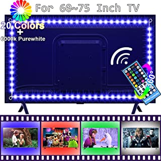LED TV Backlight for 60 to 75 Inch Smart HDTV,FSJEE Pre-Connected RGBW LED Strip TV Bias Light with 40Keys RF Wireless Remote Controller and UL Listed Power Adapter