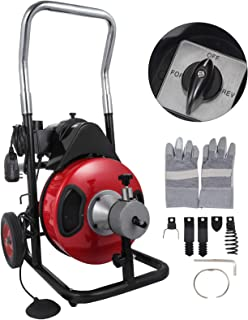 VEVOR 50 Feet by 1/2 Inch Electric Drain Auger with 4 Cutter & Foot Switch Drain Cleaner Machine Sewer Snake Drill Drain Auger Cleaner for 1
